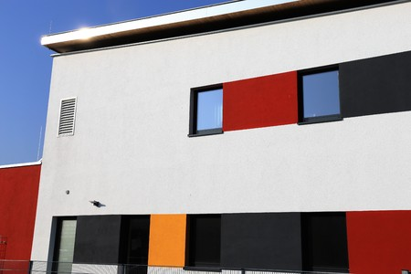 louver: Residential house with modern facade painting, exterior shot