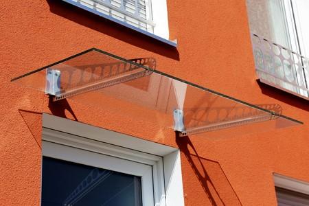 Glazen luifel voordeur Stockfoto
