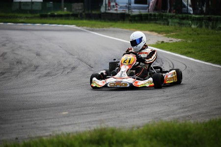 Go-Kart driver on the circuit in Walldorf, Baden-Wurttemberg (Germany), 081717