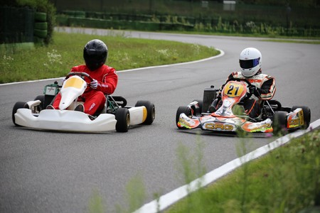 Go-Kart driver on the circuit in Walldorf, Baden-Wurttemberg (Germany), 08/17/17 Editorial