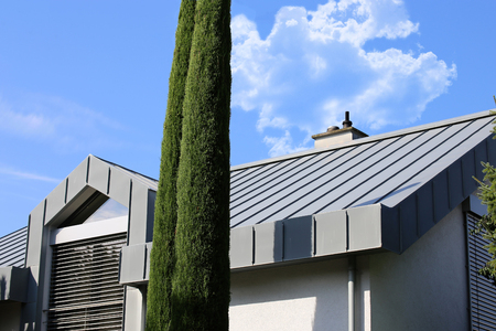 Residential home with metal roof