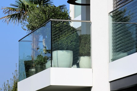 Balcony railing with glass and stainless steel