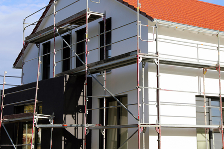 House with new facade painting, exterior shot