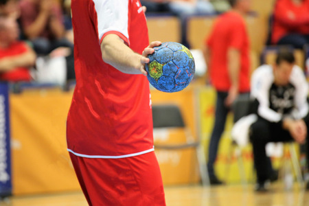 Handbalspeler, close-up Stockfoto