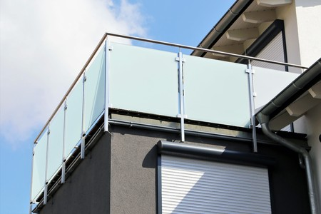 Balcony railing with stainless steel Archivio Fotografico