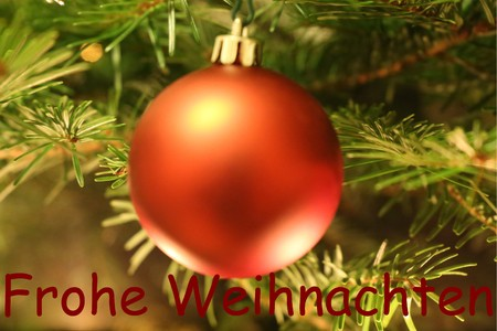 Bauble and Christmas greetings in German