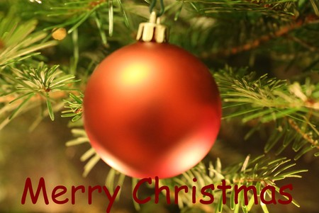 Bauble and Christmas greetings in english