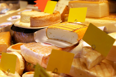 Cheese counter with a wide variety