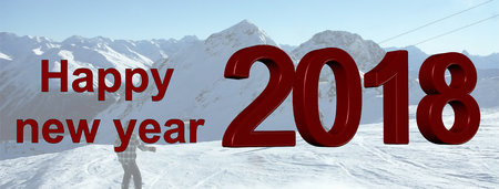 Happy new year greetings with ski area as background
