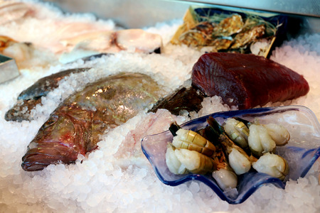 Fish counter, close up Imagens
