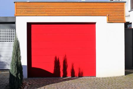 Red sectional garage door Stock Photo