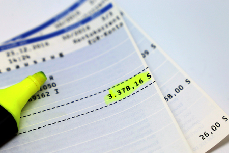 Statement of bank account with negative account balance Stock Photo