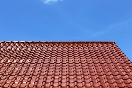 Tiled roof on a residential home Stock Photo