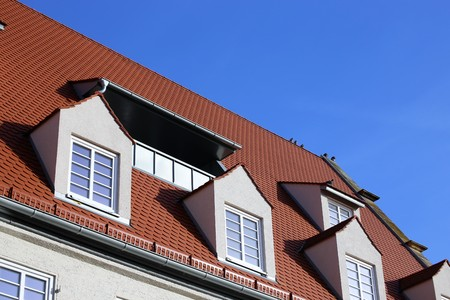 Red tile roof with dormer