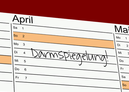 Schedule with the german word for colonoscopy: Colonoscopy Stock Photo