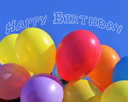 Happy birthday card with colorful balloons Фото со стока