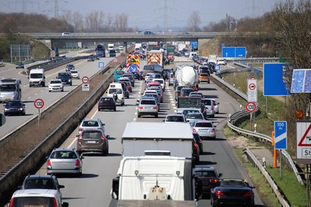 Traffic jam on a german highway 스톡 콘텐츠