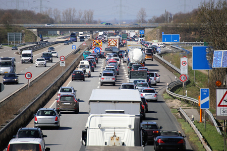Traffic jam on a german highway Stok Fotoğraf