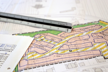 Urban Development plan, close-up Stockfoto