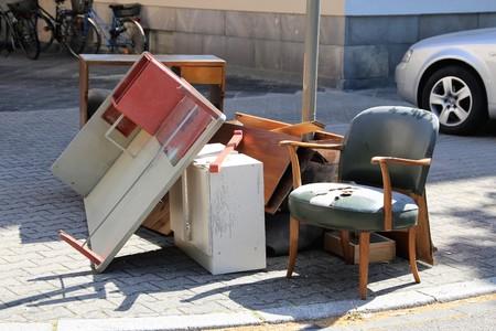Grofvuil, huishoudelijk afval Stockfoto