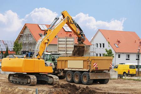 Earthwork with excavator
