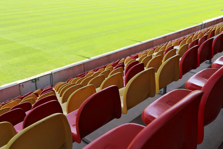 Seats in an empty sports stadium