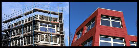Building with facade cladding 스톡 콘텐츠