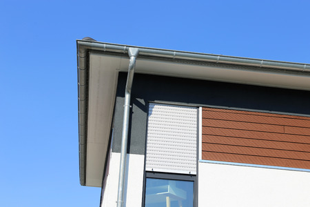 Facade with wooden panels 写真素材