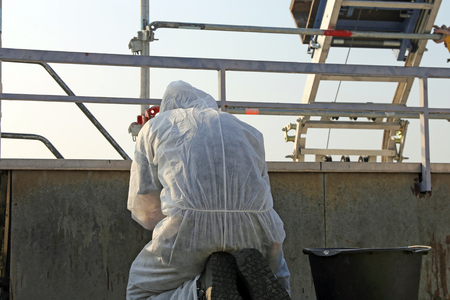 Professional asbestos abatement Stock Photo