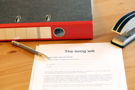 Blank form of the living wants on a desk