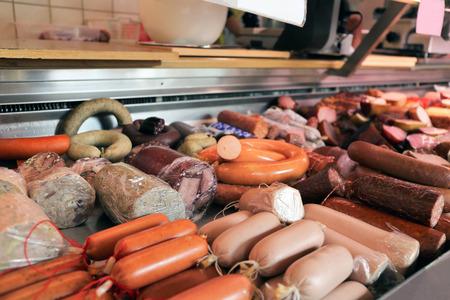 Variety of fine sausage products Reklamní fotografie - 119236089
