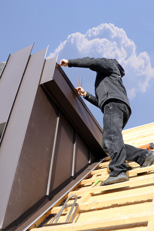 Constructing a dormer Banco de Imagens