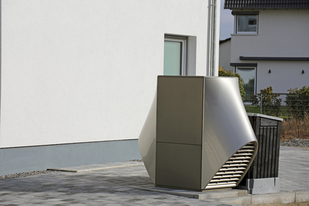 Heat pump on a residential home Stockfoto