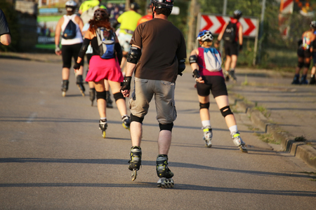 Group of roller blades in the evening sun Imagens