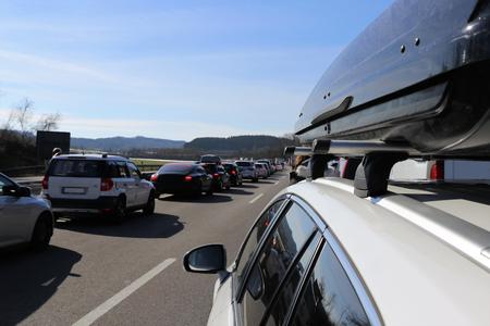 Traffic jam with rescue lane Banco de Imagens