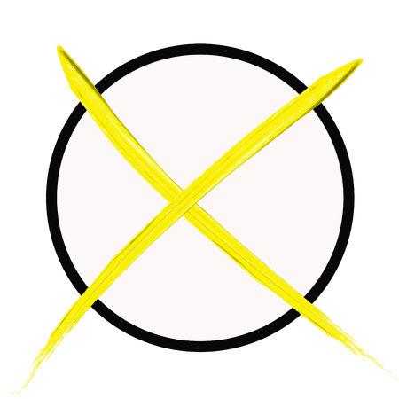 Circle with yellow cross Standard-Bild - 119229077