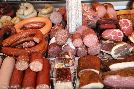 Variety of fine sausage products 스톡 콘텐츠