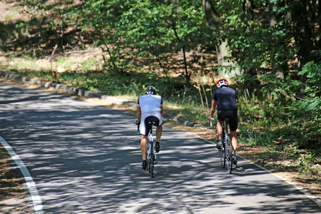 Racing cyclists on the country road