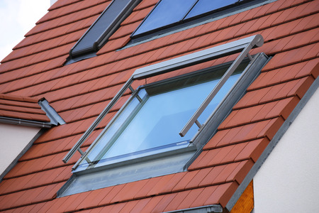 Roof window with awning, exterior shot