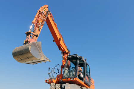 Excavation work on a building site Stock Photo