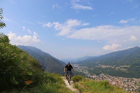 Mountain bikers on the Lake Maggiore