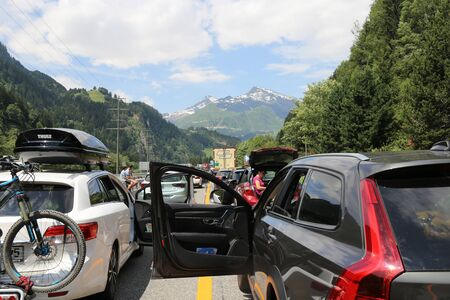Traffic jam after an accident in the Gotthard tunnel (Motorway 2, Ticino, Switzerland, July 6, 2019) Editorial