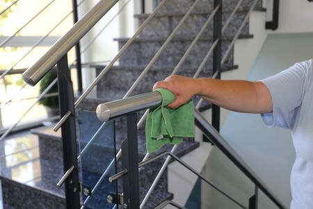 Professional staircase cleaning in a building Banque d'images - 127443676