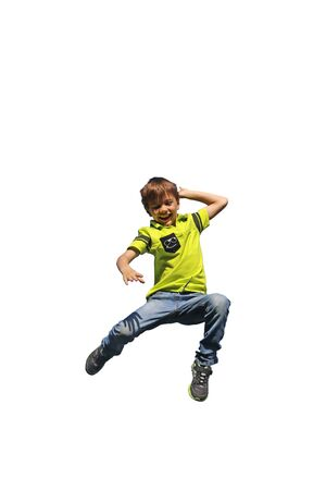 Boy jumps in the air (white background)