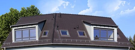 Panoramic picture of a new tiled roof 版權商用圖片