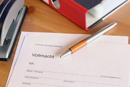 Form with german text: Form living will, then, in large letters Power of attorney and then personal data: name, date of birth, place of birth, address, phone) Stock fotó