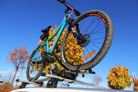 Bicycle on the bike rack (Ludwigshafen, Germany, November 02, 2018)