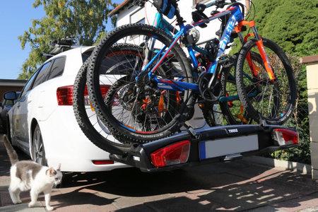Mountain bikes on the rear bike rack (Mutterstadt, Germany, September 16, 2019)
