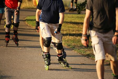 Group of roller blades in the evening sun
