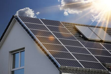 Roof with solar panels (photovoltaics)